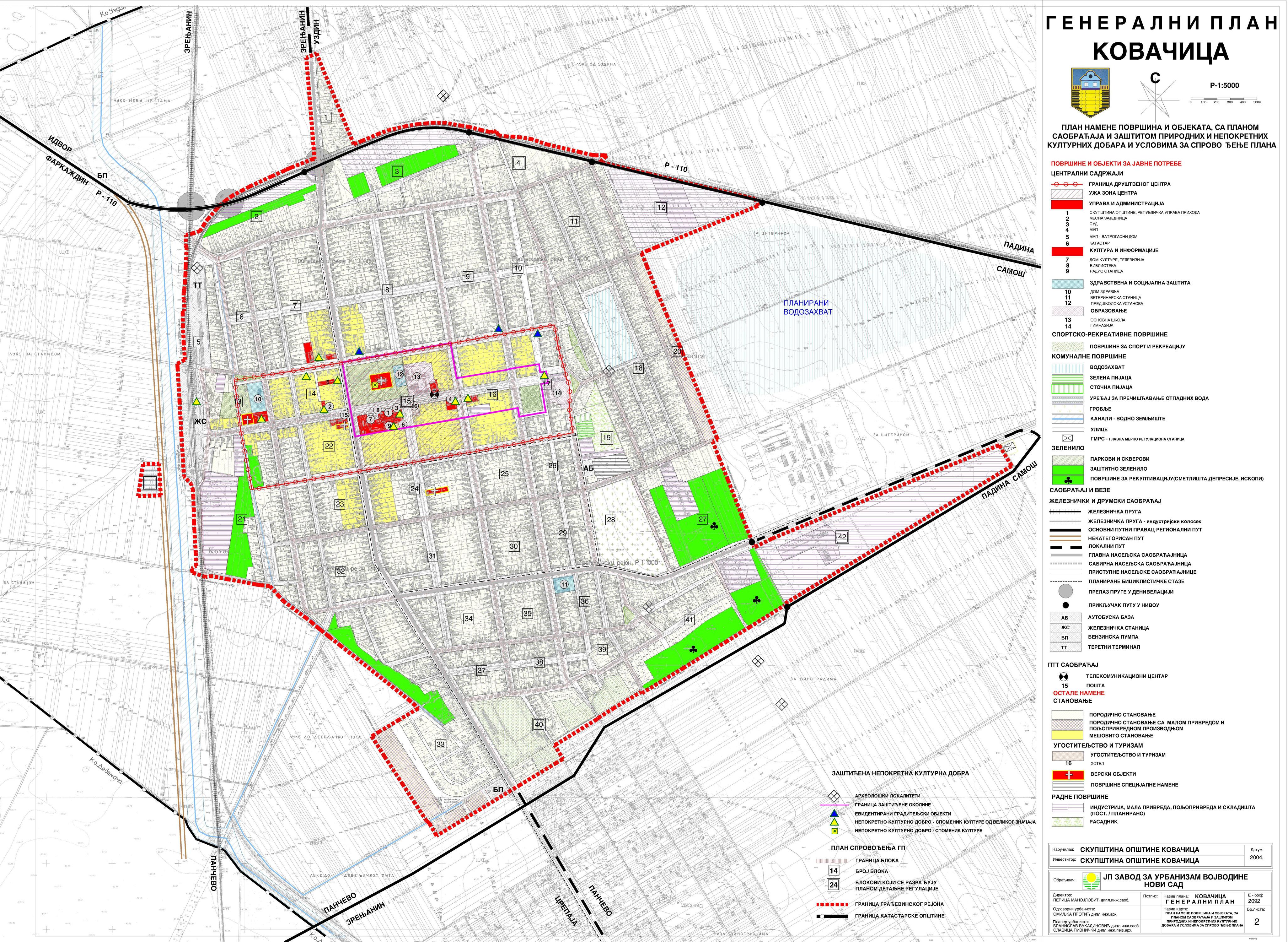 kovačica mapa JP Zavod za urbanizam Vojvodine   Urbanistički planovi kovačica mapa